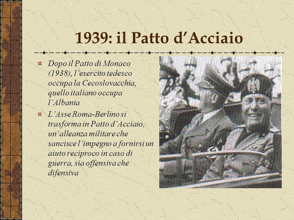 1939: il Patto dAcciaio Dopo il Patto di Monaco (1938), lesercito tedesco occupa la Cecoslovacchia, quello italiano occupa lAlbania LAsse Roma-Berlino si trasforma in Patto dAcciaio, unalleanza militare che sancisce limpegno a fornirsi un aiuto reciproco in caso di guerra, sia offensiva che difensiva