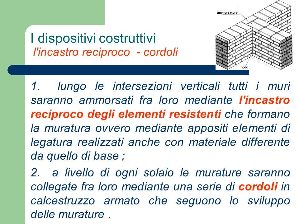 I dispositivi costruttivi l'incastro reciproco - cordoli 1. lungo le intersezioni verticali tutti i muri saranno ammorsati fra loro mediante l'incastr