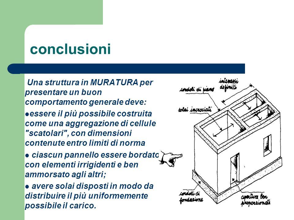 conclusioni Una struttura in MURATURA per presentare un buon comportamento generale deve: essere il più possibile costruita come una aggregazione di c