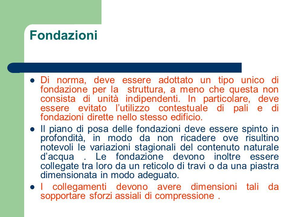 Fondazioni Di norma, deve essere adottato un tipo unico di fondazione per la struttura, a meno che questa non consista di unità indipendenti. In parti