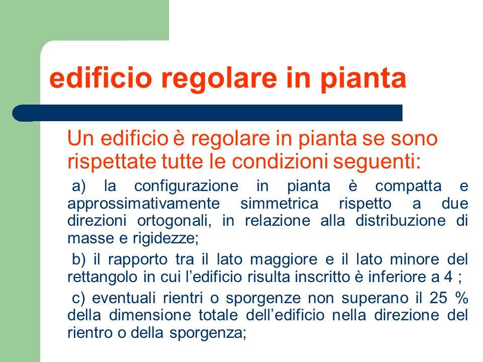 edificio regolare in pianta Un edificio è regolare in pianta se sono rispettate tutte le condizioni seguenti: a) la configurazione in pianta è compatt