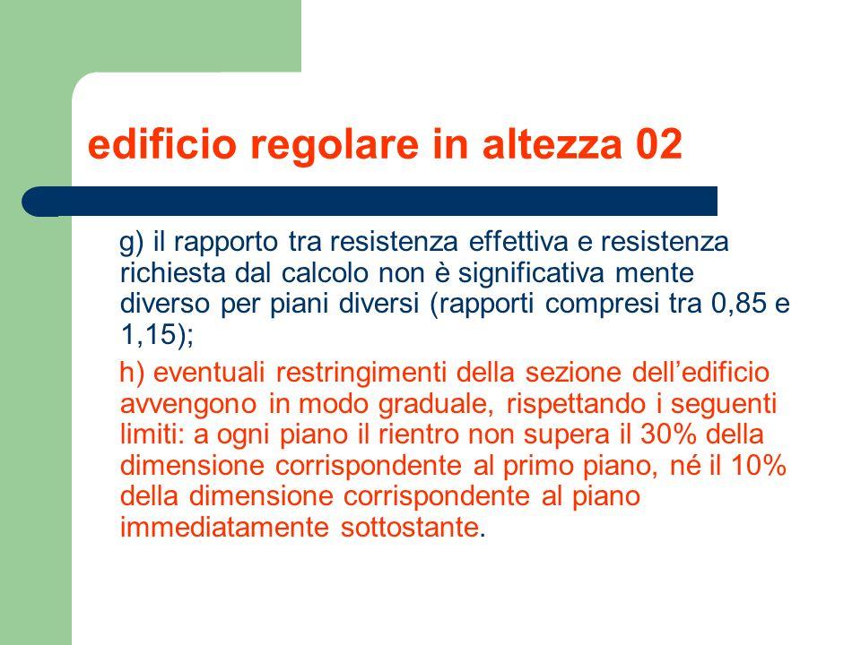 edificio regolare in altezza 02 g) il rapporto tra resistenza effettiva e resistenza richiesta dal calcolo non è significativa mente diverso per piani
