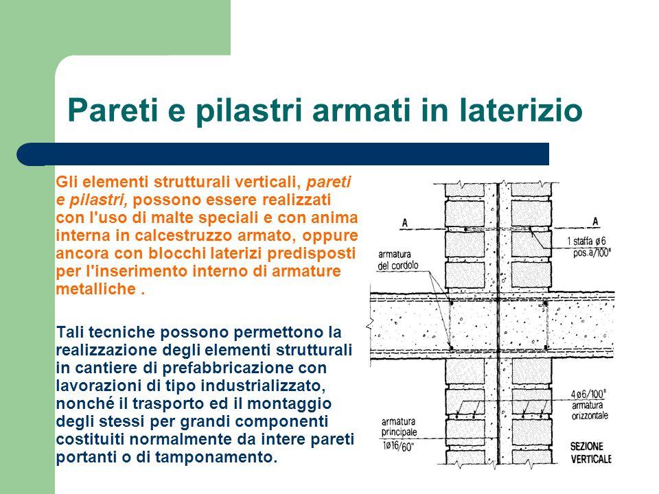 Pareti e pilastri armati in laterizio Gli elementi strutturali verticali, pareti e pilastri, possono essere realizzati con l'uso di malte speciali e c