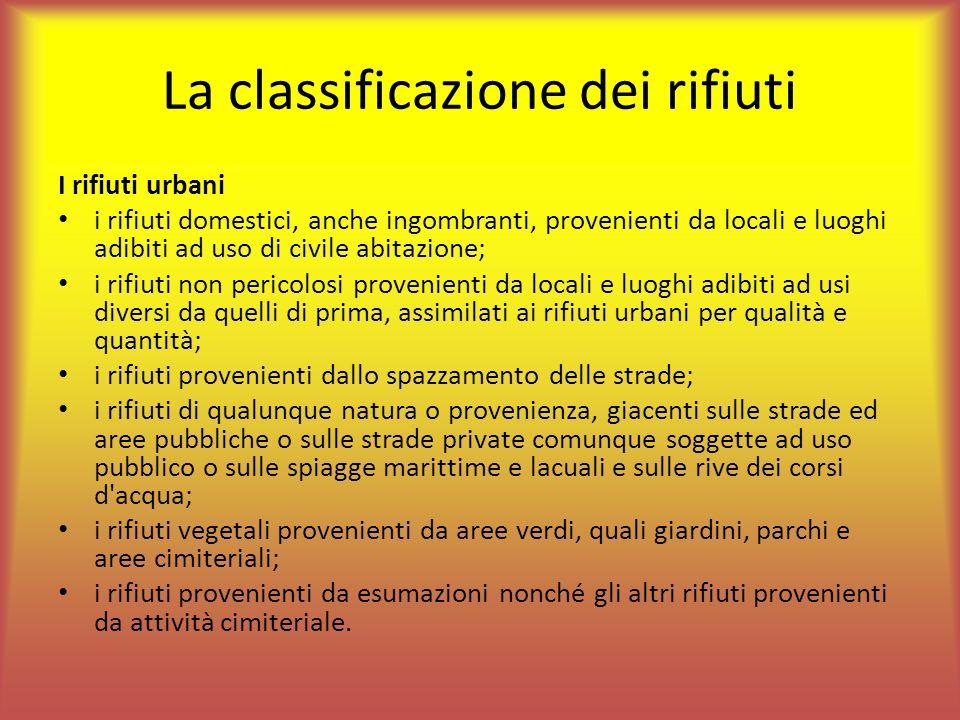 La classificazione dei rifiuti I rifiuti urbani i rifiuti domestici, anche ingombranti, provenienti da locali e luoghi adibiti ad uso di civile abitaz