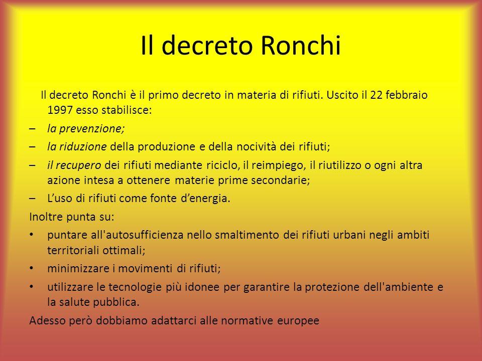 Il decreto Ronchi Il decreto Ronchi è il primo decreto in materia di rifiuti. Uscito il 22 febbraio 1997 esso stabilisce: –la prevenzione; –la riduzio