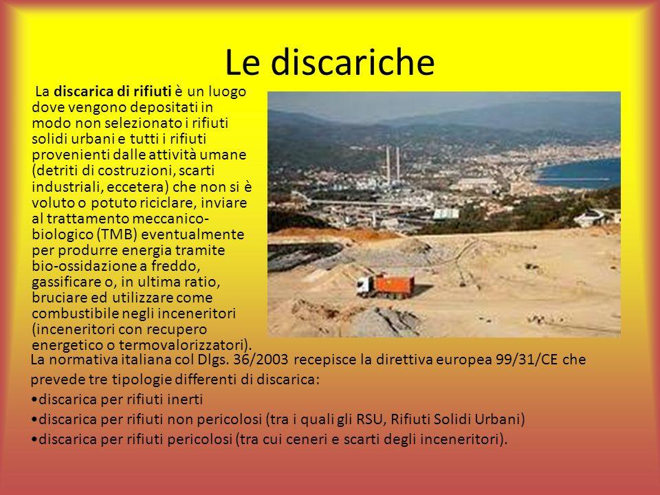 Le discariche La discarica di rifiuti è un luogo dove vengono depositati in modo non selezionato i rifiuti solidi urbani e tutti i rifiuti provenienti