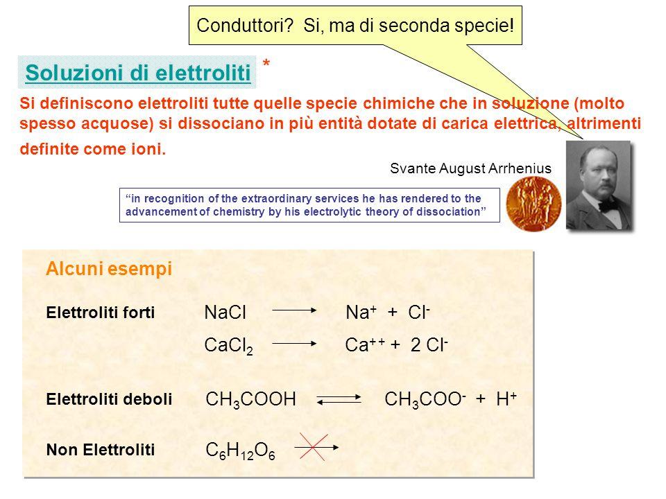 Conduttori? Si, ma di seconda specie! Si definiscono elettroliti tutte quelle specie chimiche che in soluzione (molto spesso acquose) si dissociano in