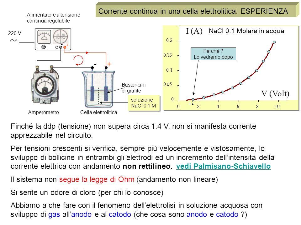 V (Volt) I (A) 220 V Alimentatore a tensione continua regolabile NaCl 0.1 Molare in acqua Bastoncini di grafite + - + - Corrente continua in una cella