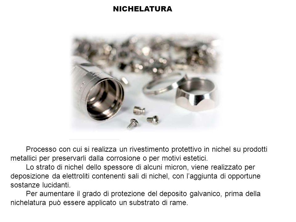 NICHELATURA Processo con cui si realizza un rivestimento protettivo in nichel su prodotti metallici per preservarli dalla corrosione o per motivi este