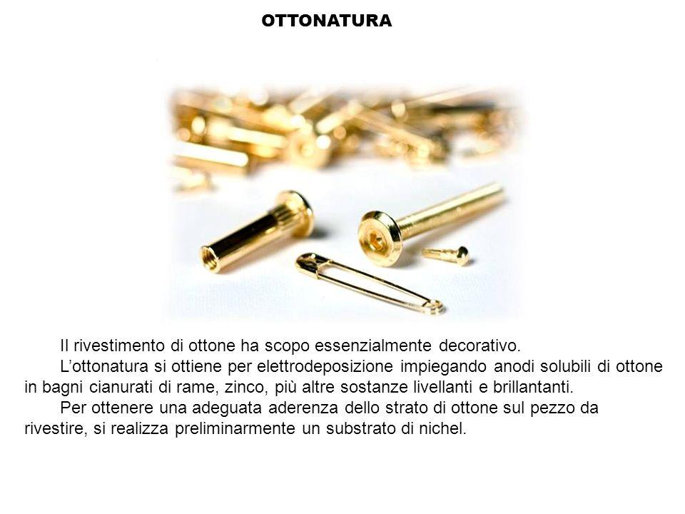 OTTONATURA Il rivestimento di ottone ha scopo essenzialmente decorativo. Lottonatura si ottiene per elettrodeposizione impiegando anodi solubili di ot