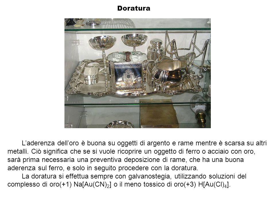 Laderenza delloro è buona su oggetti di argento e rame mentre è scarsa su altri metalli. Ciò significa che se si vuole ricoprire un oggetto di ferro o