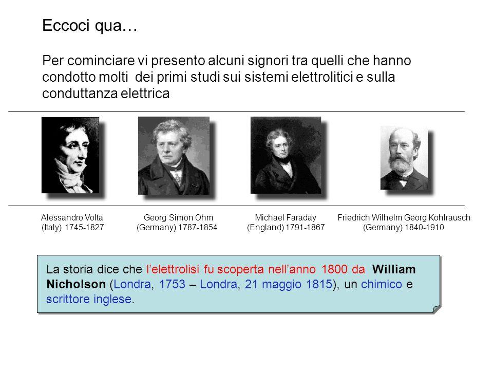 Eccoci qua… La storia dice che lelettrolisi fu scoperta nellanno 1800 da William Nicholson (Londra, 1753 – Londra, 21 maggio 1815), un chimico e scrit