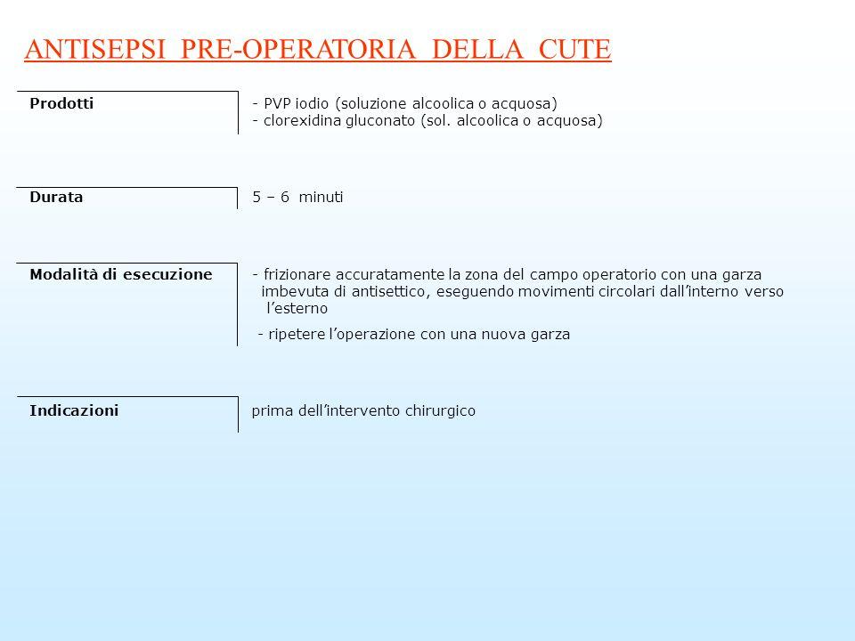 ANTISEPSI PRE-OPERATORIA DELLA CUTE Prodotti- PVP iodio (soluzione alcoolica o acquosa) - clorexidina gluconato (sol. alcoolica o acquosa) Durata5 – 6