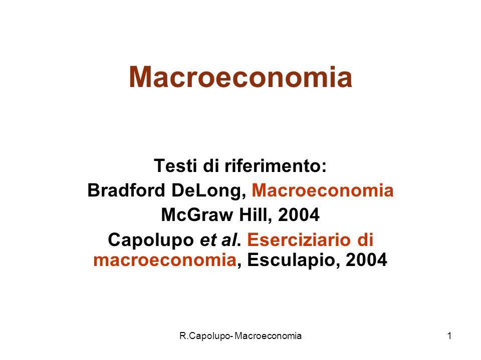 R.Capolupo- Macroeconomia1 Macroeconomia Testi di riferimento: Bradford DeLong, Macroeconomia McGraw Hill, 2004 Capolupo et al.