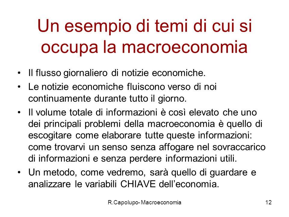 R.Capolupo- Macroeconomia12 Un esempio di temi di cui si occupa la macroeconomia Il flusso giornaliero di notizie economiche.