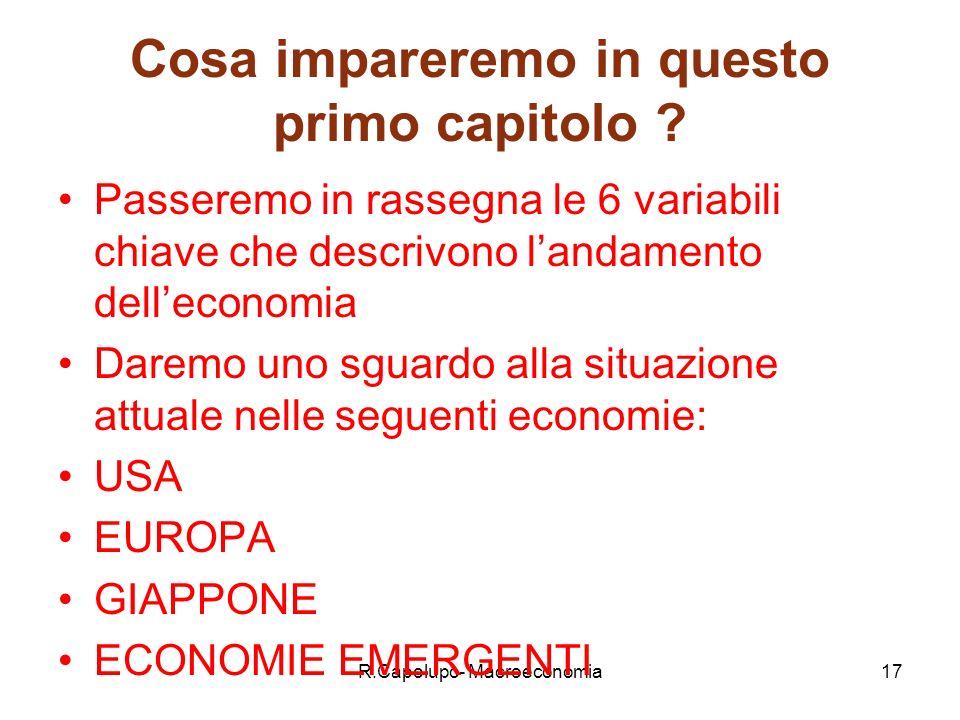 R.Capolupo- Macroeconomia17 Cosa impareremo in questo primo capitolo .
