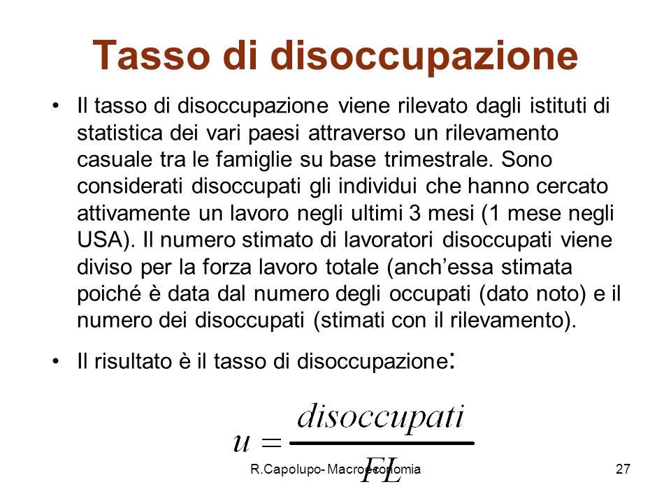 R.Capolupo- Macroeconomia27 Tasso di disoccupazione Il tasso di disoccupazione viene rilevato dagli istituti di statistica dei vari paesi attraverso un rilevamento casuale tra le famiglie su base trimestrale.