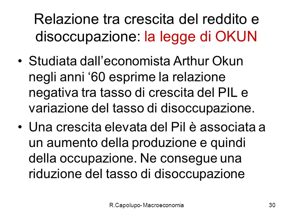 R.Capolupo- Macroeconomia30 Relazione tra crescita del reddito e disoccupazione: la legge di OKUN Studiata dalleconomista Arthur Okun negli anni 60 esprime la relazione negativa tra tasso di crescita del PIL e variazione del tasso di disoccupazione.