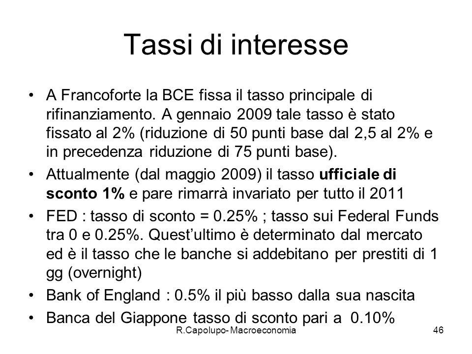 R.Capolupo- Macroeconomia46 Tassi di interesse A Francoforte la BCE fissa il tasso principale di rifinanziamento.