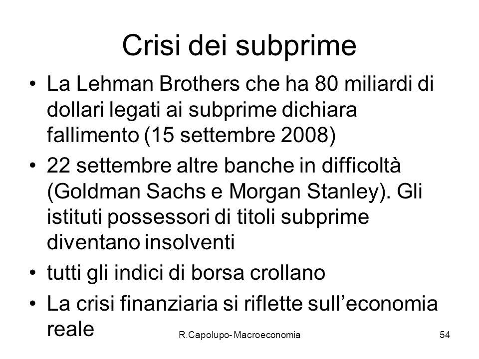R.Capolupo- Macroeconomia54 Crisi dei subprime La Lehman Brothers che ha 80 miliardi di dollari legati ai subprime dichiara fallimento (15 settembre 2008) 22 settembre altre banche in difficoltà (Goldman Sachs e Morgan Stanley).