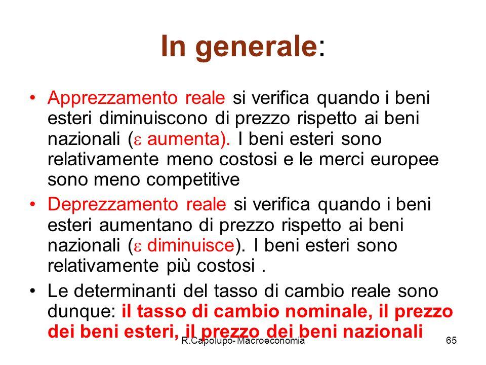 R.Capolupo- Macroeconomia65 In generale: Apprezzamento reale si verifica quando i beni esteri diminuiscono di prezzo rispetto ai beni nazionali ( aumenta).