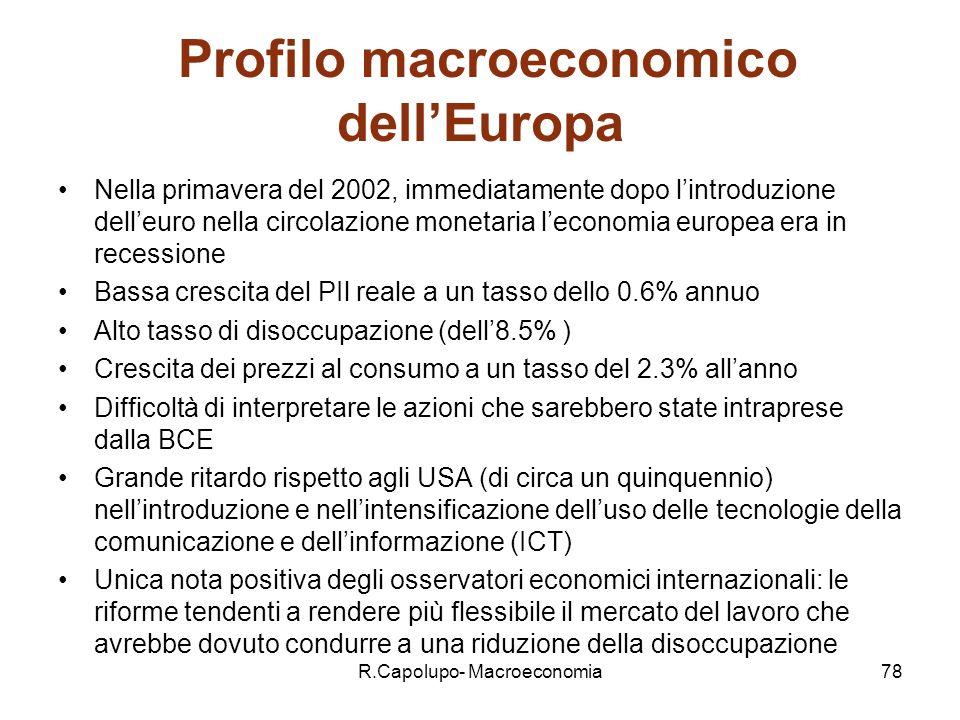 R.Capolupo- Macroeconomia78 Profilo macroeconomico dellEuropa Nella primavera del 2002, immediatamente dopo lintroduzione delleuro nella circolazione monetaria leconomia europea era in recessione Bassa crescita del PIl reale a un tasso dello 0.6% annuo Alto tasso di disoccupazione (dell8.5% ) Crescita dei prezzi al consumo a un tasso del 2.3% allanno Difficoltà di interpretare le azioni che sarebbero state intraprese dalla BCE Grande ritardo rispetto agli USA (di circa un quinquennio) nellintroduzione e nellintensificazione delluso delle tecnologie della comunicazione e dellinformazione (ICT) Unica nota positiva degli osservatori economici internazionali: le riforme tendenti a rendere più flessibile il mercato del lavoro che avrebbe dovuto condurre a una riduzione della disoccupazione