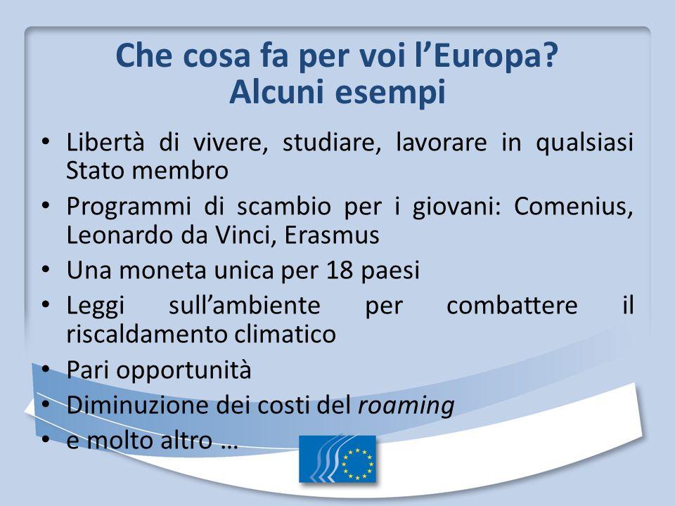 Che cosa fa per voi lEuropa? Alcuni esempi Libertà di vivere, studiare, lavorare in qualsiasi Stato membro Programmi di scambio per i giovani: Comeniu