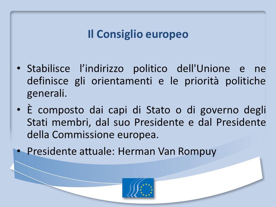 Il Consiglio europeo Stabilisce lindirizzo politico dell'Unione e ne definisce gli orientamenti e le priorità politiche generali. È composto dai capi
