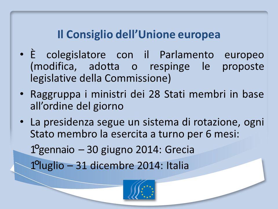 Il Consiglio dellUnione europea È colegislatore con il Parlamento europeo (modifica, adotta o respinge le proposte legislative della Commissione) Ragg