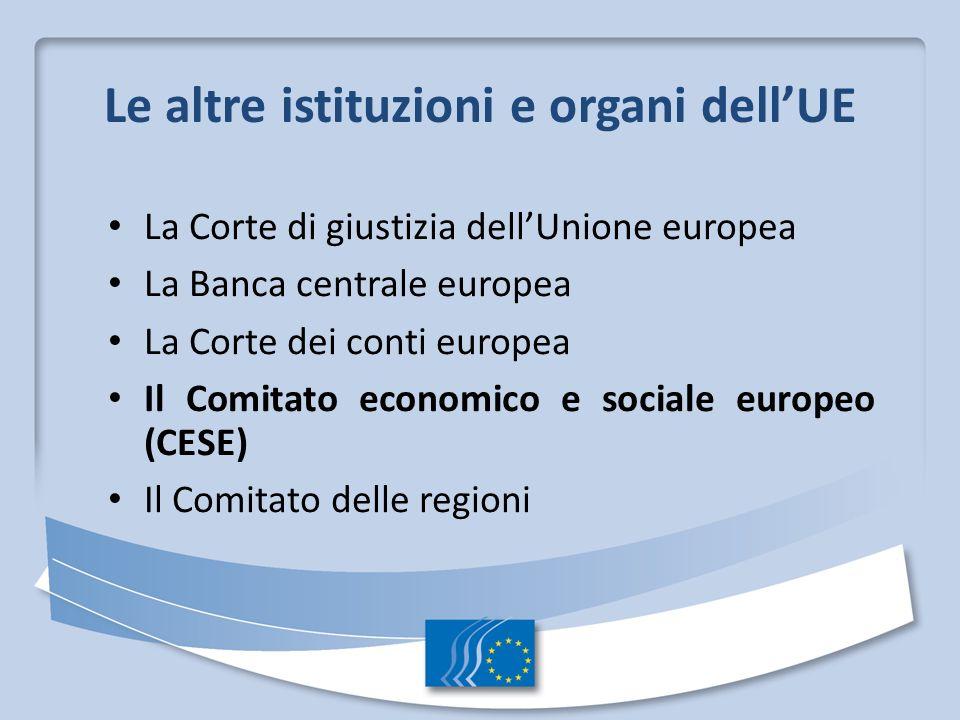 Le altre istituzioni e organi dellUE La Corte di giustizia dellUnione europea La Banca centrale europea La Corte dei conti europea Il Comitato economico e sociale europeo (CESE) Il Comitato delle regioni