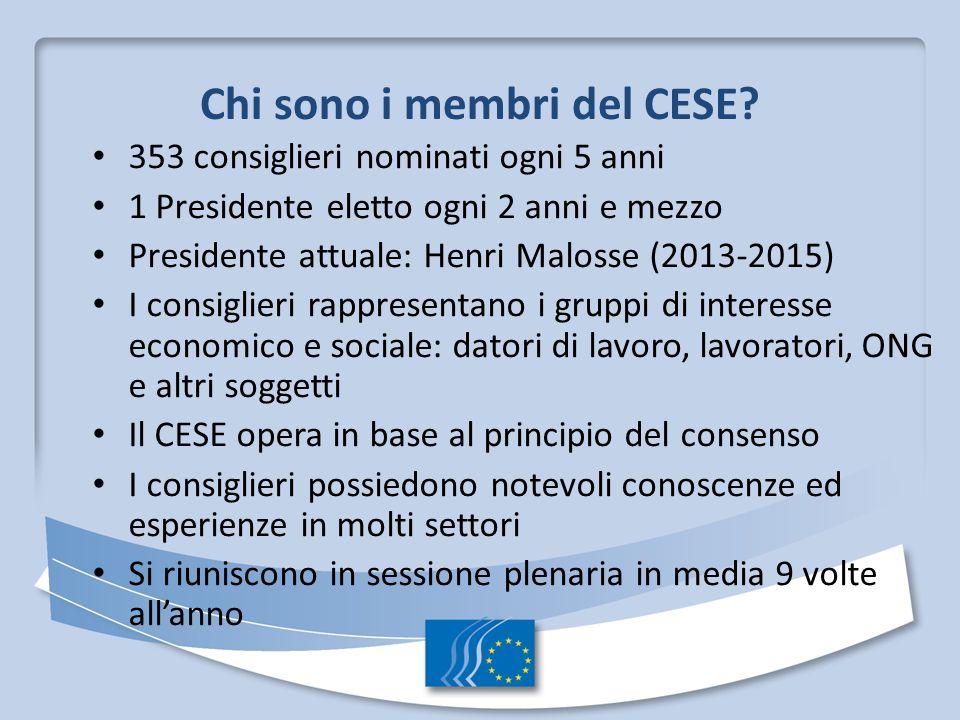 Chi sono i membri del CESE? 353 consiglieri nominati ogni 5 anni 1 Presidente eletto ogni 2 anni e mezzo Presidente attuale: Henri Malosse (2013-2015)
