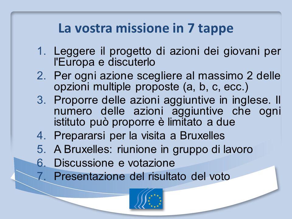 1. Leggere il progetto di azioni dei giovani per l'Europa e discuterlo 2. Per ogni azione scegliere al massimo 2 delle opzioni multiple proposte (a, b