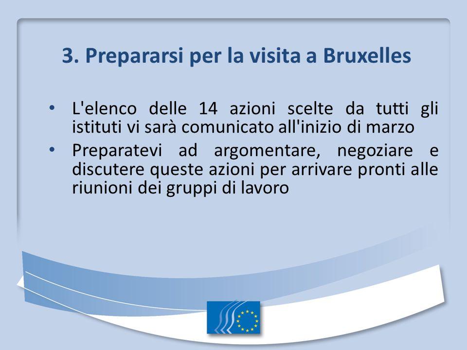 3. Prepararsi per la visita a Bruxelles L'elenco delle 14 azioni scelte da tutti gli istituti vi sarà comunicato all'inizio di marzo Preparatevi ad ar