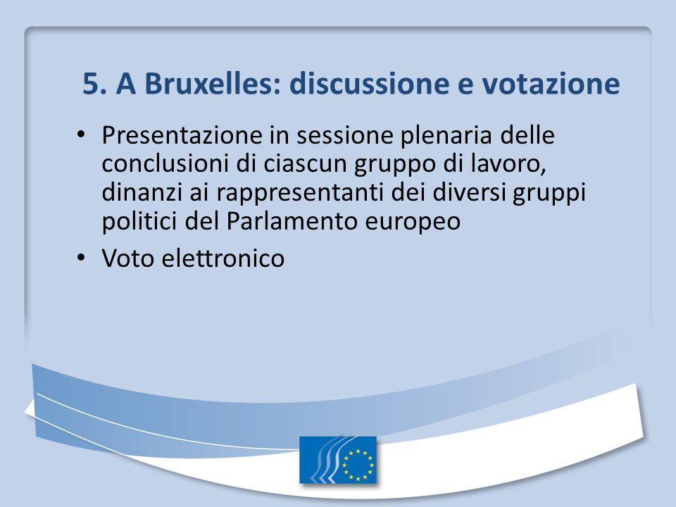 5. A Bruxelles: discussione e votazione Presentazione in sessione plenaria delle conclusioni di ciascun gruppo di lavoro, dinanzi ai rappresentanti de