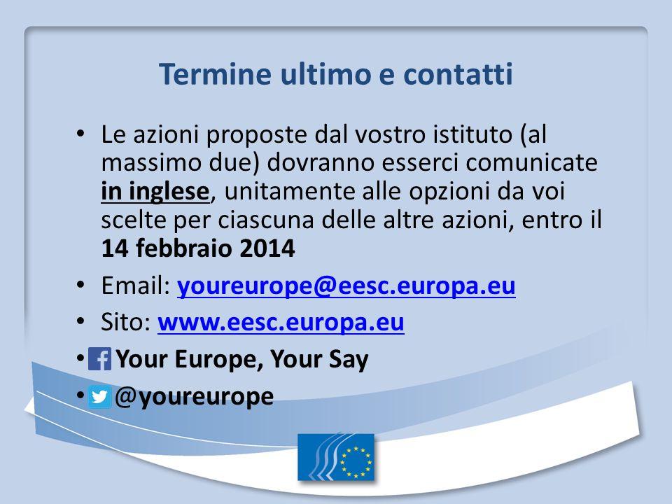Termine ultimo e contatti Le azioni proposte dal vostro istituto (al massimo due) dovranno esserci comunicate in inglese, unitamente alle opzioni da voi scelte per ciascuna delle altre azioni, entro il 14 febbraio 2014 Email: youreurope@eesc.europa.euyoureurope@eesc.europa.eu Sito: www.eesc.europa.euwww.eesc.europa.eu Your Europe, Your Say @youreurope