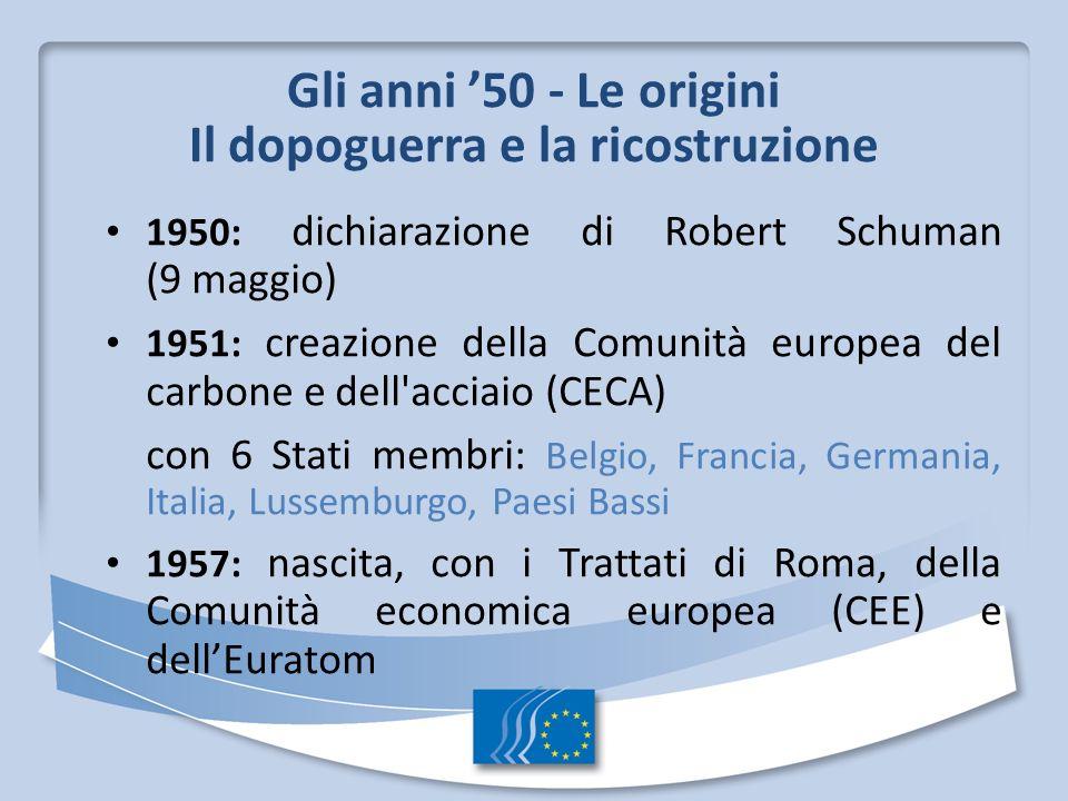 Gli anni 50 - Le origini Il dopoguerra e la ricostruzione 1950: dichiarazione di Robert Schuman (9 maggio) 1951: creazione della Comunità europea del carbone e dell acciaio (CECA) con 6 Stati membri: Belgio, Francia, Germania, Italia, Lussemburgo, Paesi Bassi 1957: nascita, con i Trattati di Roma, della Comunità economica europea (CEE) e dellEuratom