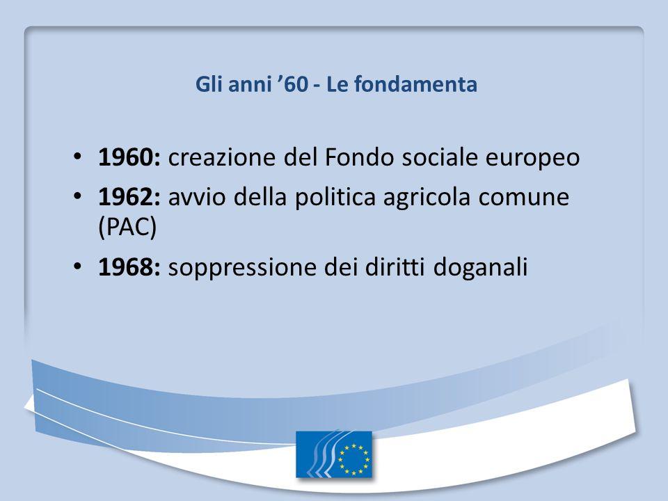 Gli anni 60 - Le fondamenta 1960: creazione del Fondo sociale europeo 1962: avvio della politica agricola comune (PAC) 1968: soppressione dei diritti