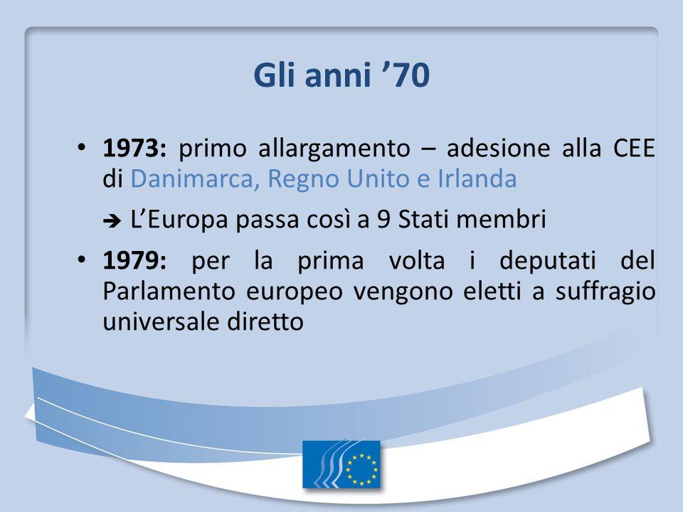 Gli anni 70 1973: primo allargamento – adesione alla CEE di Danimarca, Regno Unito e Irlanda LEuropa passa così a 9 Stati membri 1979: per la prima vo