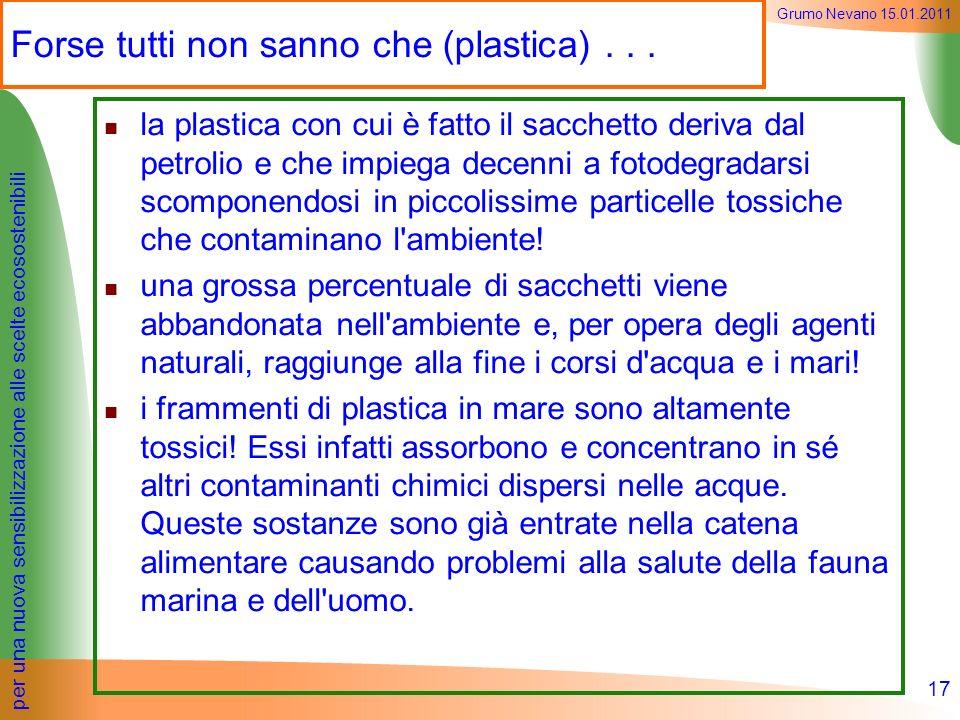 per una nuova sensibilizzazione alle scelte ecosostenibili Grumo Nevano 15.01.2011 la plastica con cui è fatto il sacchetto deriva dal petrolio e che
