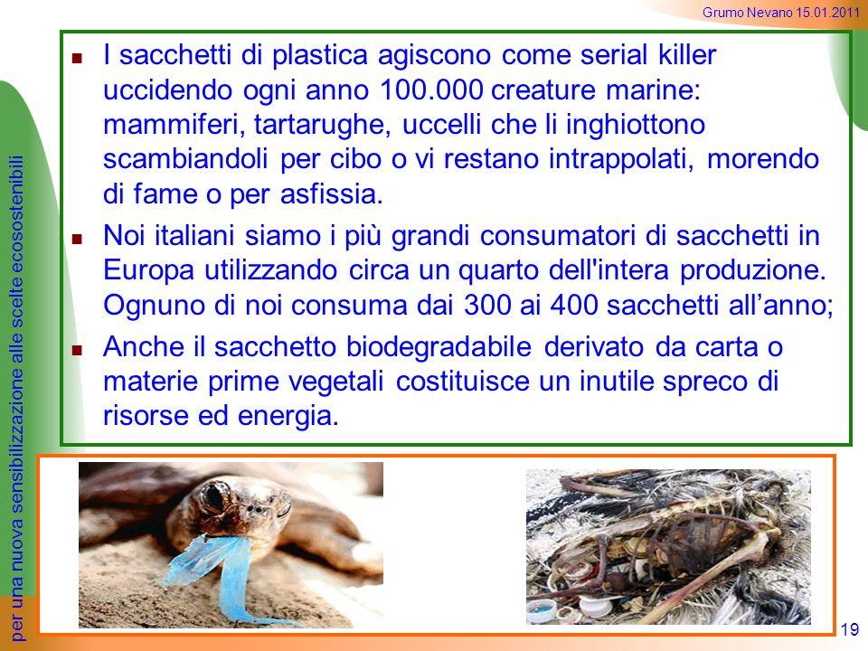 per una nuova sensibilizzazione alle scelte ecosostenibili Grumo Nevano 15.01.2011 I sacchetti di plastica agiscono come serial killer uccidendo ogni