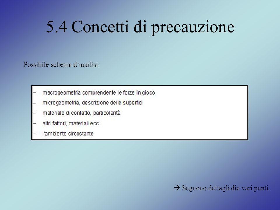5.4 Concetti di precauzione Possibile schema danalisi: Seguono dettagli die vari punti.