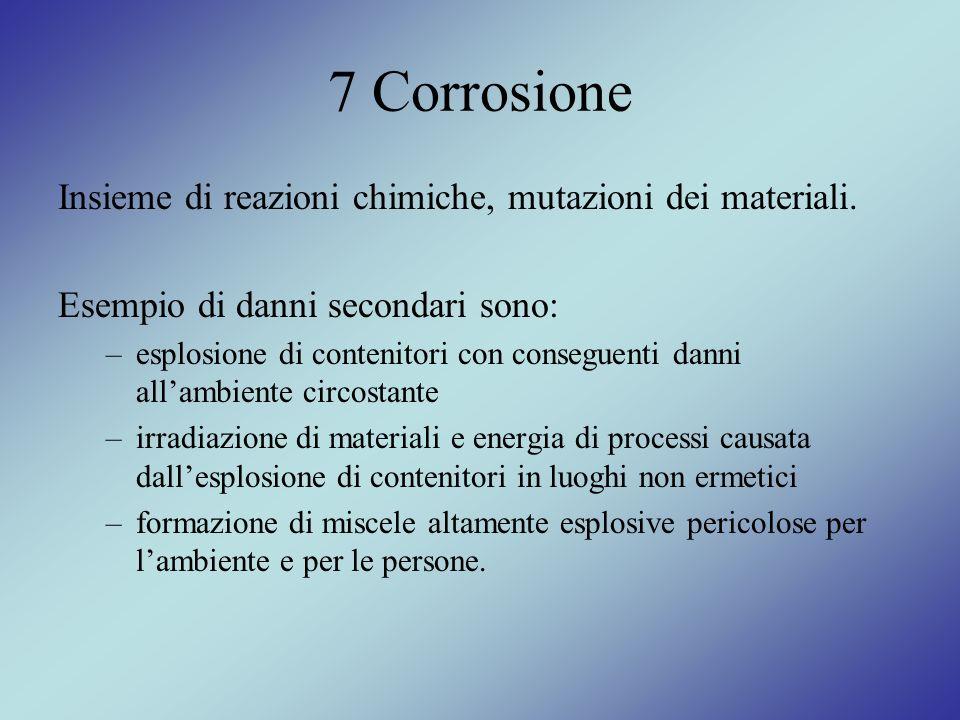 7 Corrosione Insieme di reazioni chimiche, mutazioni dei materiali. Esempio di danni secondari sono: –esplosione di contenitori con conseguenti danni