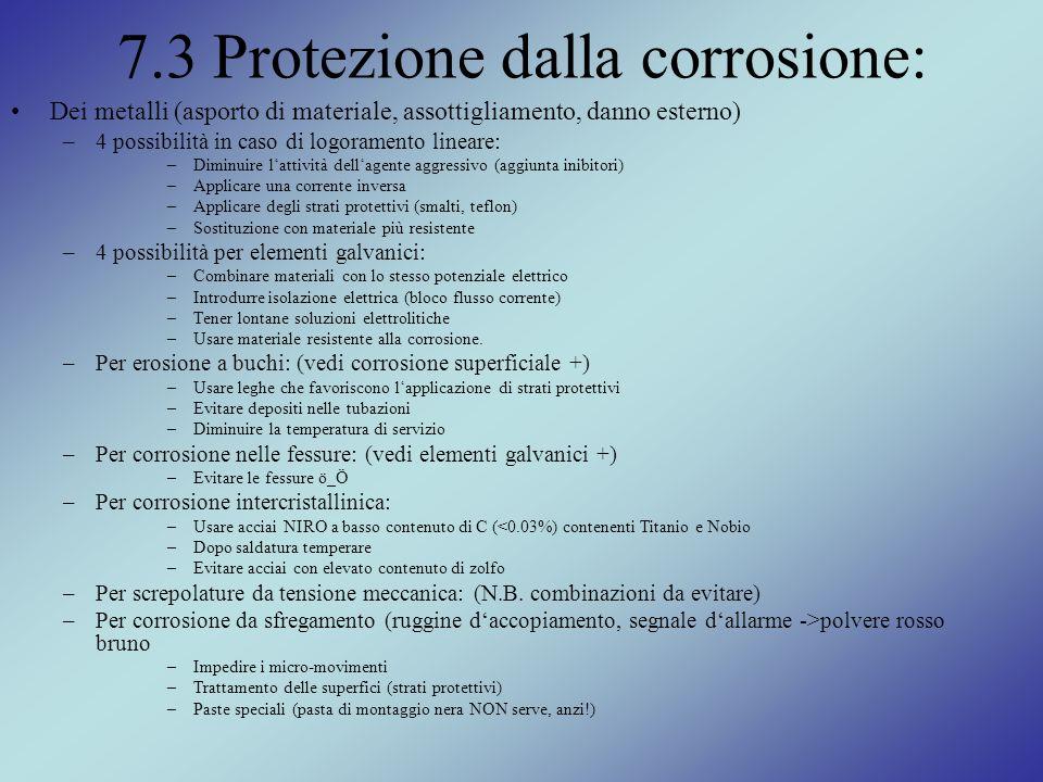 7.3 Protezione dalla corrosione: Dei metalli (asporto di materiale, assottigliamento, danno esterno) –4 possibilità in caso di logoramento lineare: –D