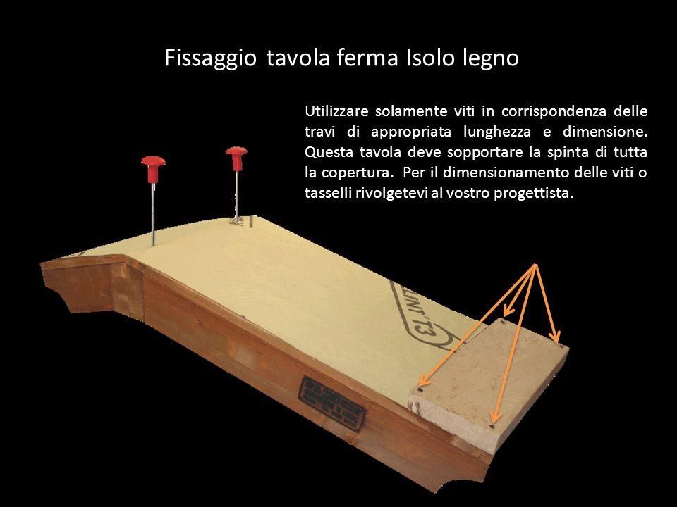 Fissaggio tavola ferma Isolo legno Utilizzare solamente viti in corrispondenza delle travi di appropriata lunghezza e dimensione. Questa tavola deve s