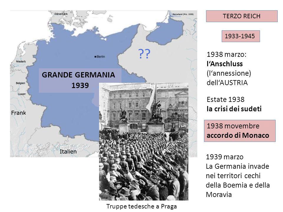 IMPERO TEDESCO 1933-1945 TERZO REICH 1938 movembre accordo di Monaco ?? 1939 marzo La Germania invade nei territori cechi della Boemia e della Moravia