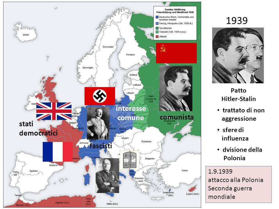 1939 interesse comune Patto Hitler-Stalin 1.9.1939 attacco alla Polonia Seconda guerra mondiale comunista fascisti stati democratici trattato di non a