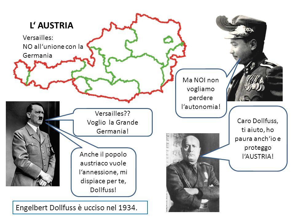 L AUSTRIA Versailles: NO allunione con la Germania Ma NOI non vogliamo perdere lautonomia! Caro Dollfuss, ti aiuto, ho paura anchio e proteggo lAUSTRI
