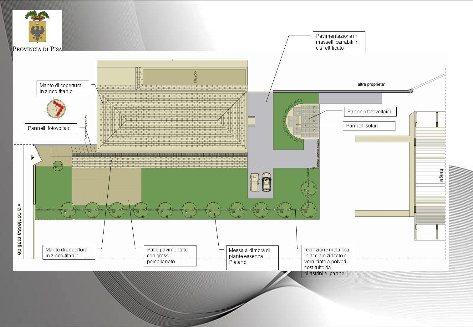 Messa a dimora di piante essenza Platano Patio pavimentato con gress porcellanato Pavimentazione in masselli carrabili in cls rettificato recinzione m