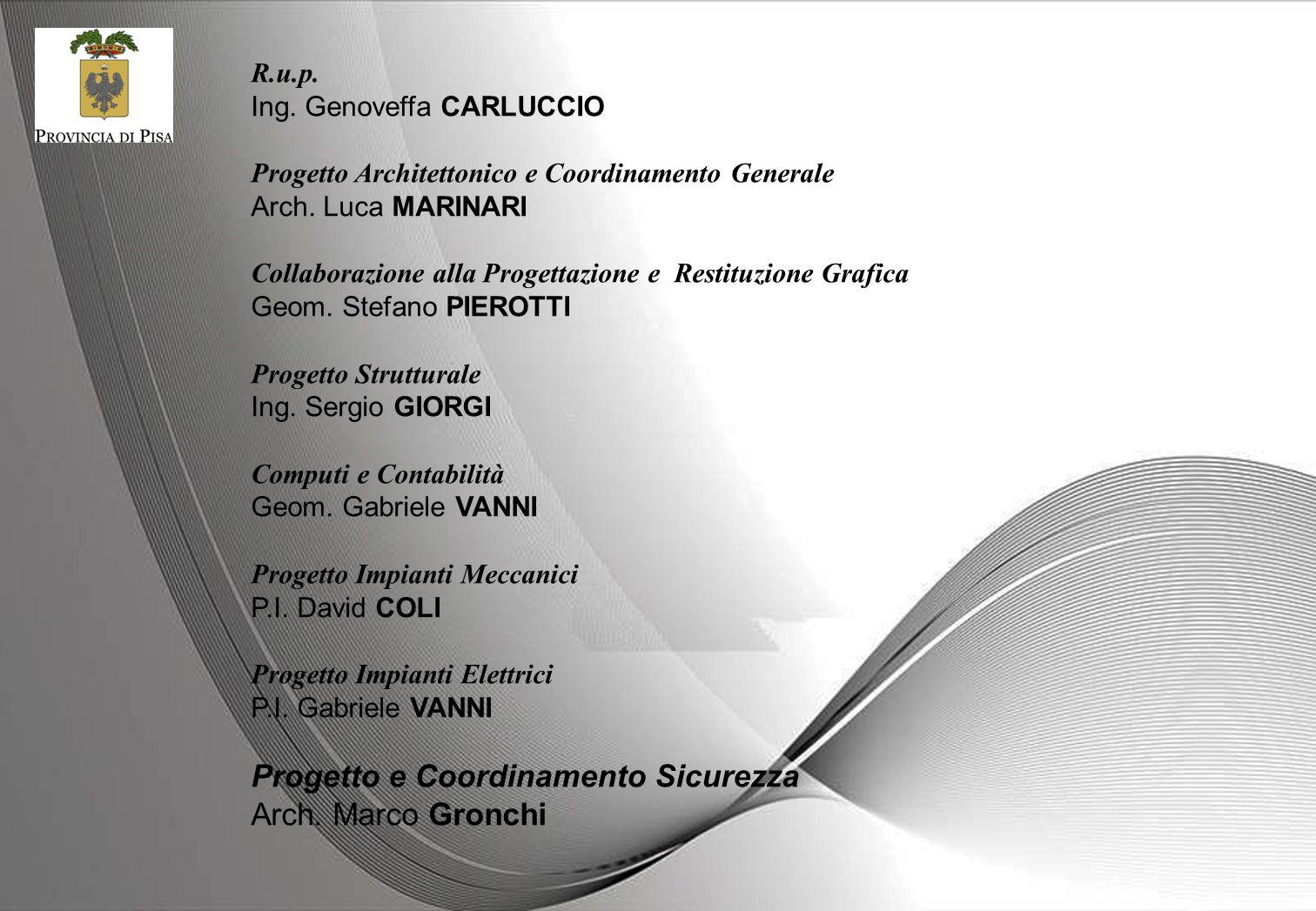 R.u.p. Ing. Genoveffa CARLUCCIO Progetto Architettonico e Coordinamento Generale Arch. Luca MARINARI Collaborazione alla Progettazione e Restituzione