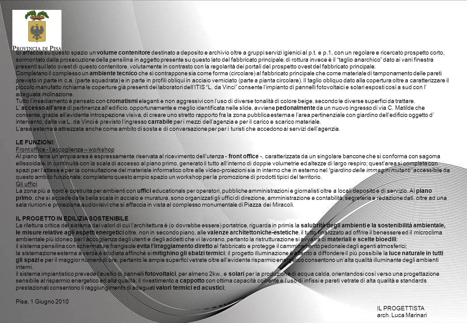 QUADRO ECONOMICO GENERALE DI PROGETTO Importo lavori 1.086.851,00 Oneri della Sicurezza 74.058,00 sommano1.160.909,00 Iva 10% 116.091,00 sommano1.227.000,00 Spese tecniche,pubblicazioni e varie 43.000,00 TOTALE1.320.000,00 CRONOPROGRAMMA DI ATTUAZIONE Descrizione fasedata Progettazione Preliminare01.07.2009 Progettazione definitiva06.11.2009 Progettazione Esecutiva06.02.2010 Aggiudicazione Appalto31.08.2010 Consegna lavori30.09.2010 Fine Lavori30.09.2011 Collaudo30.03.2012